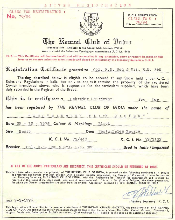 Kennel Club Of India Registration Certificate